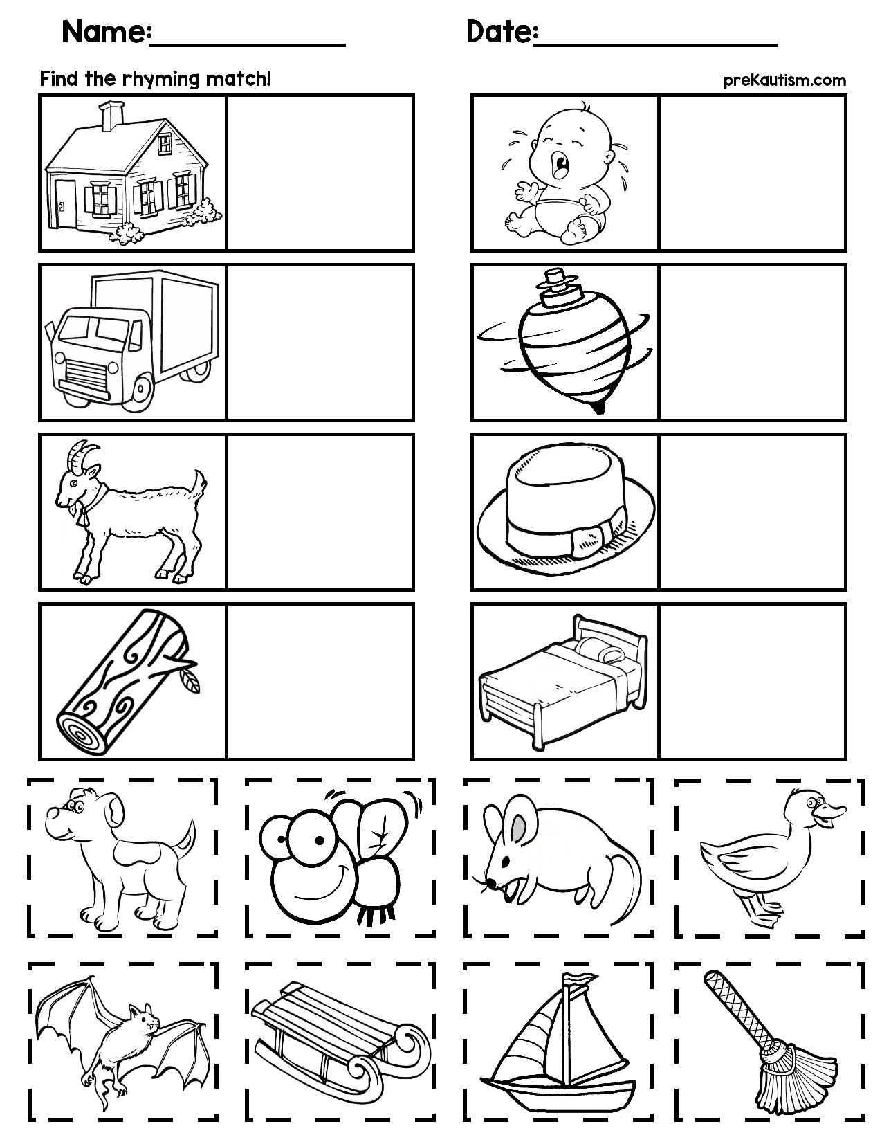 $1   Rhyming Worksheets For Preschoolers   5 Pages, No Prep