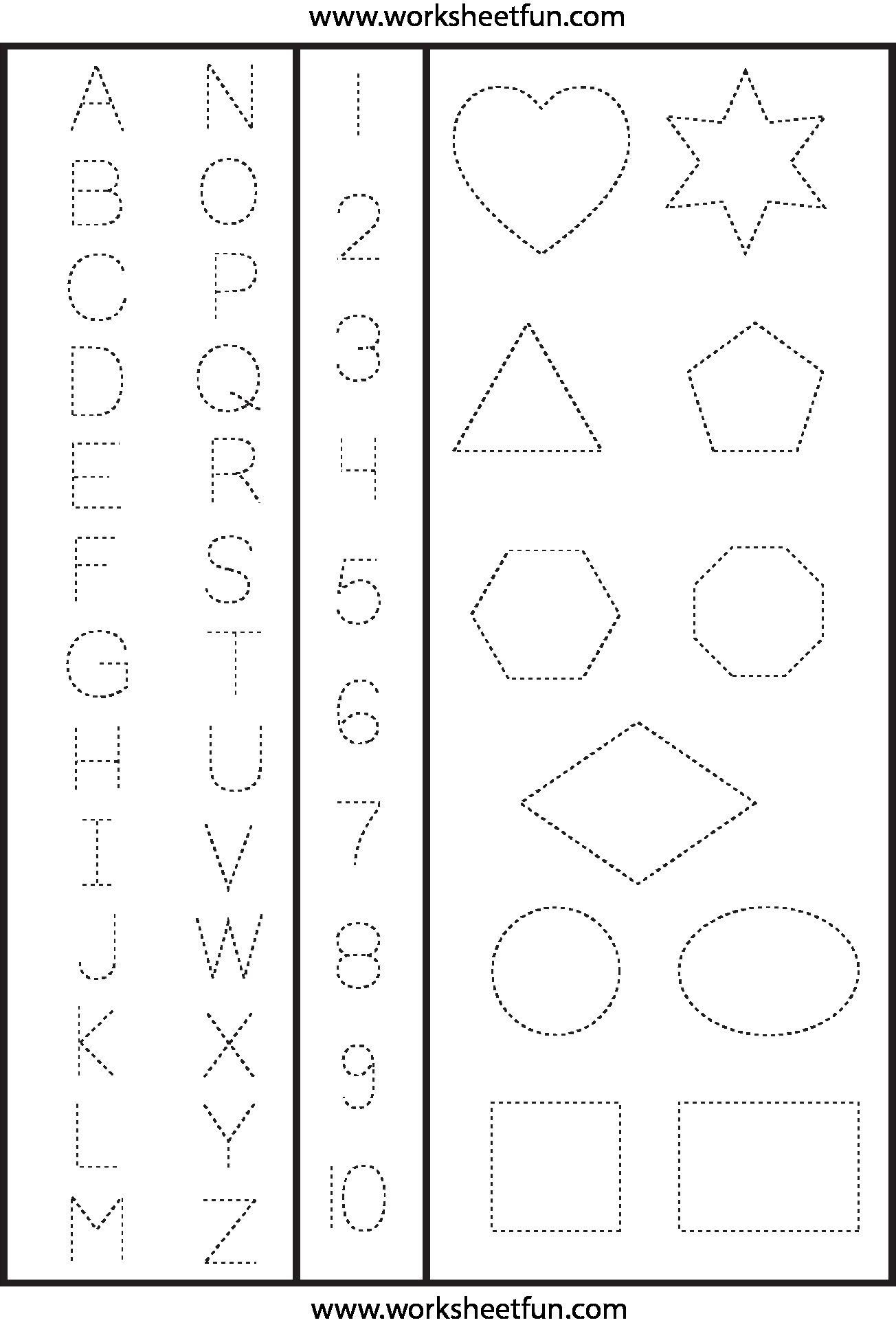 123 Tracing Worksheets Preschool In 2020 | Shape Tracing
