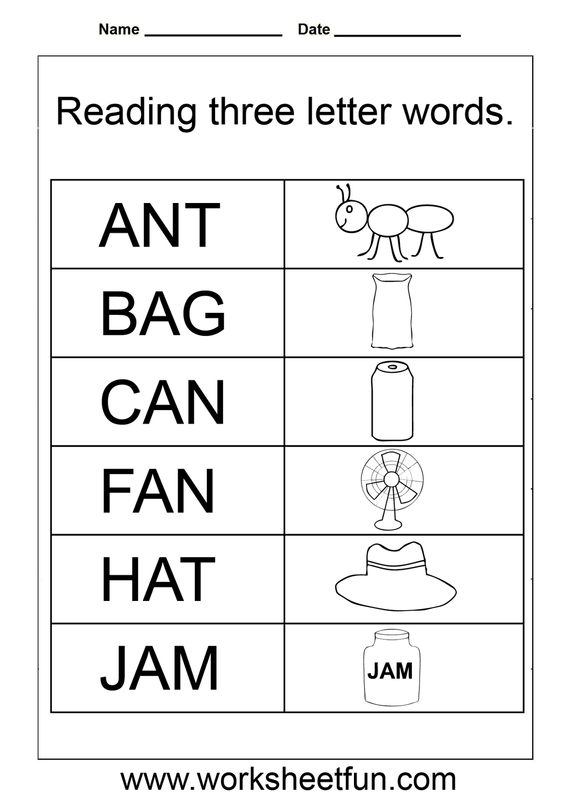 3 Letter Words Worksheets For Kindergarten | Three Letter