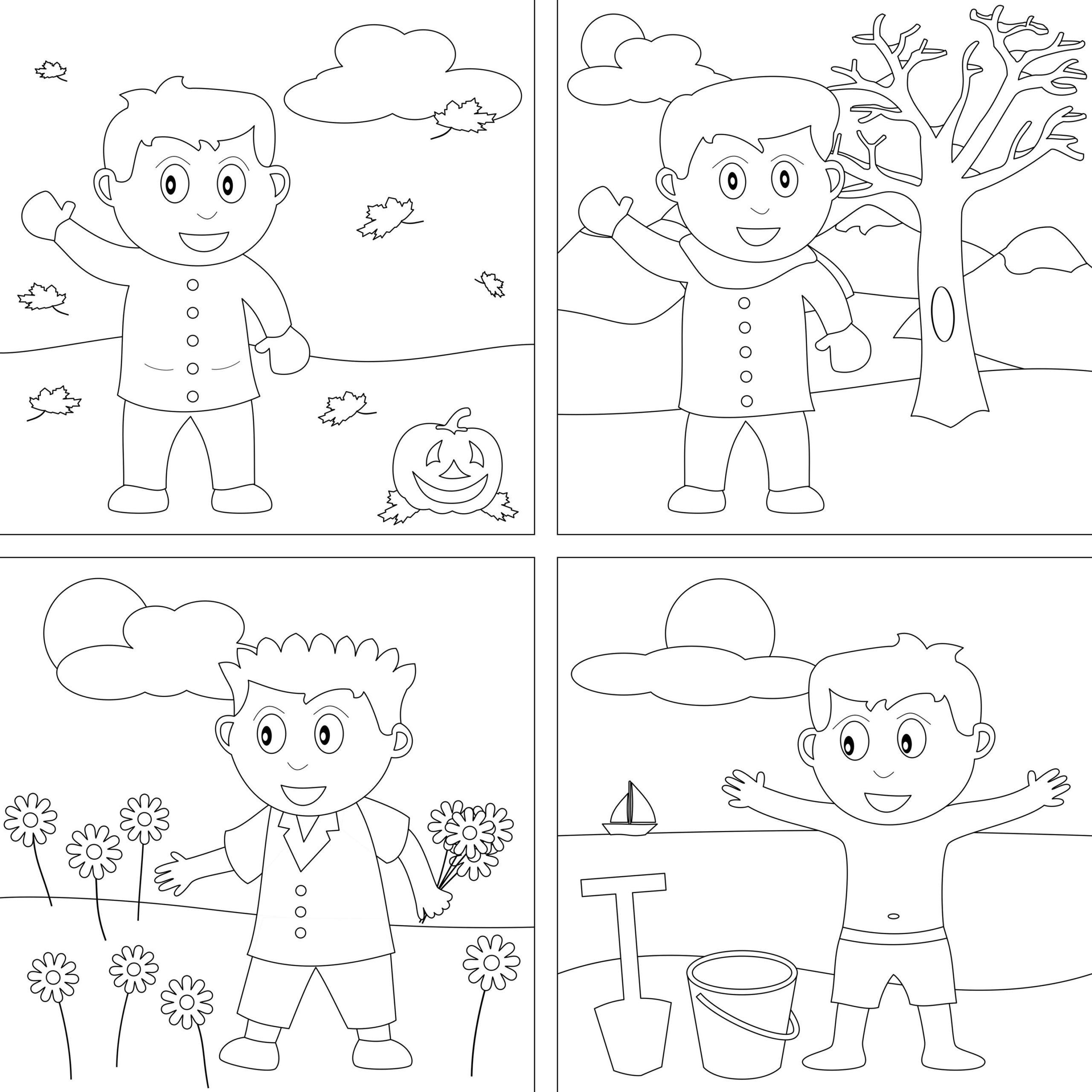 4 Seasons Coloring Pages | Seasons Worksheets, Seasons