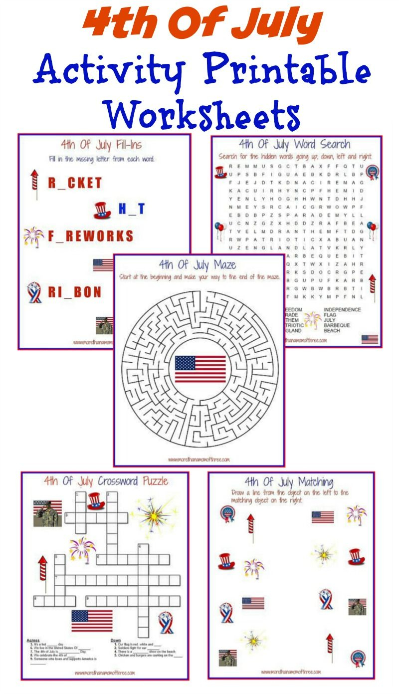 4Th Of July Activity Printable Worksheets - More Than A Mom