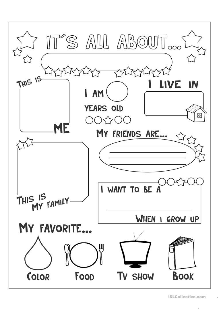 All About Me - English Esl Worksheets For Distance Learning