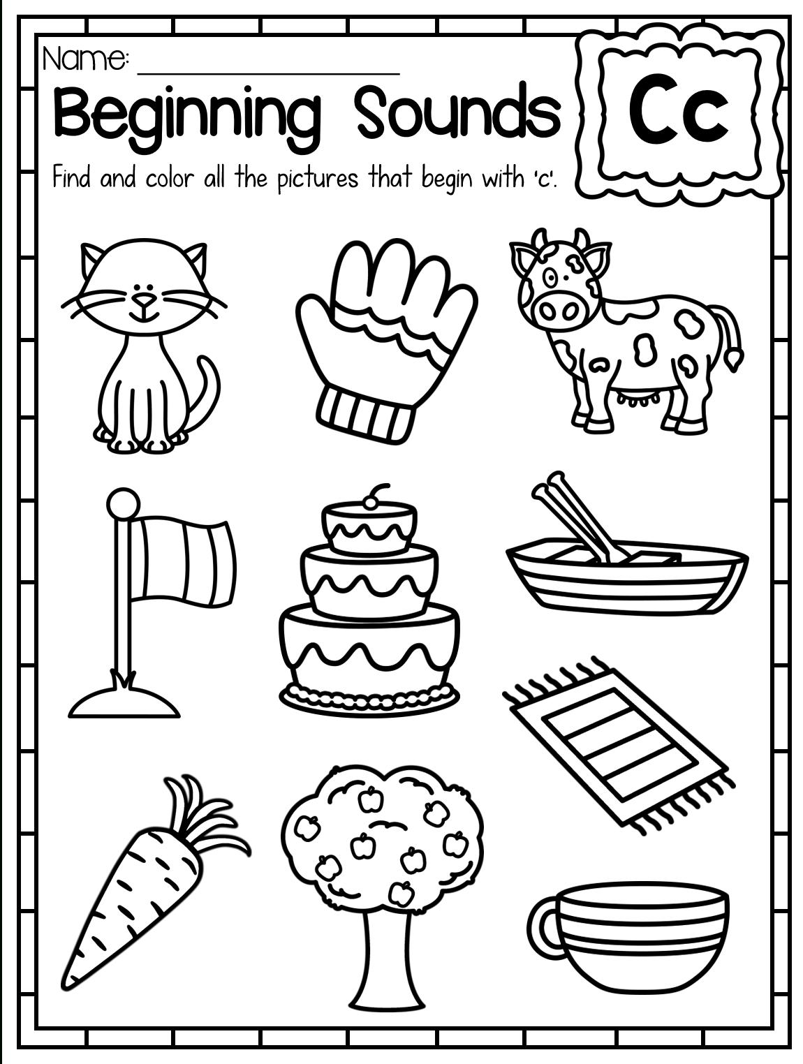 Beginning Sounds Worksheet. Letter C. These Beginning Sounds