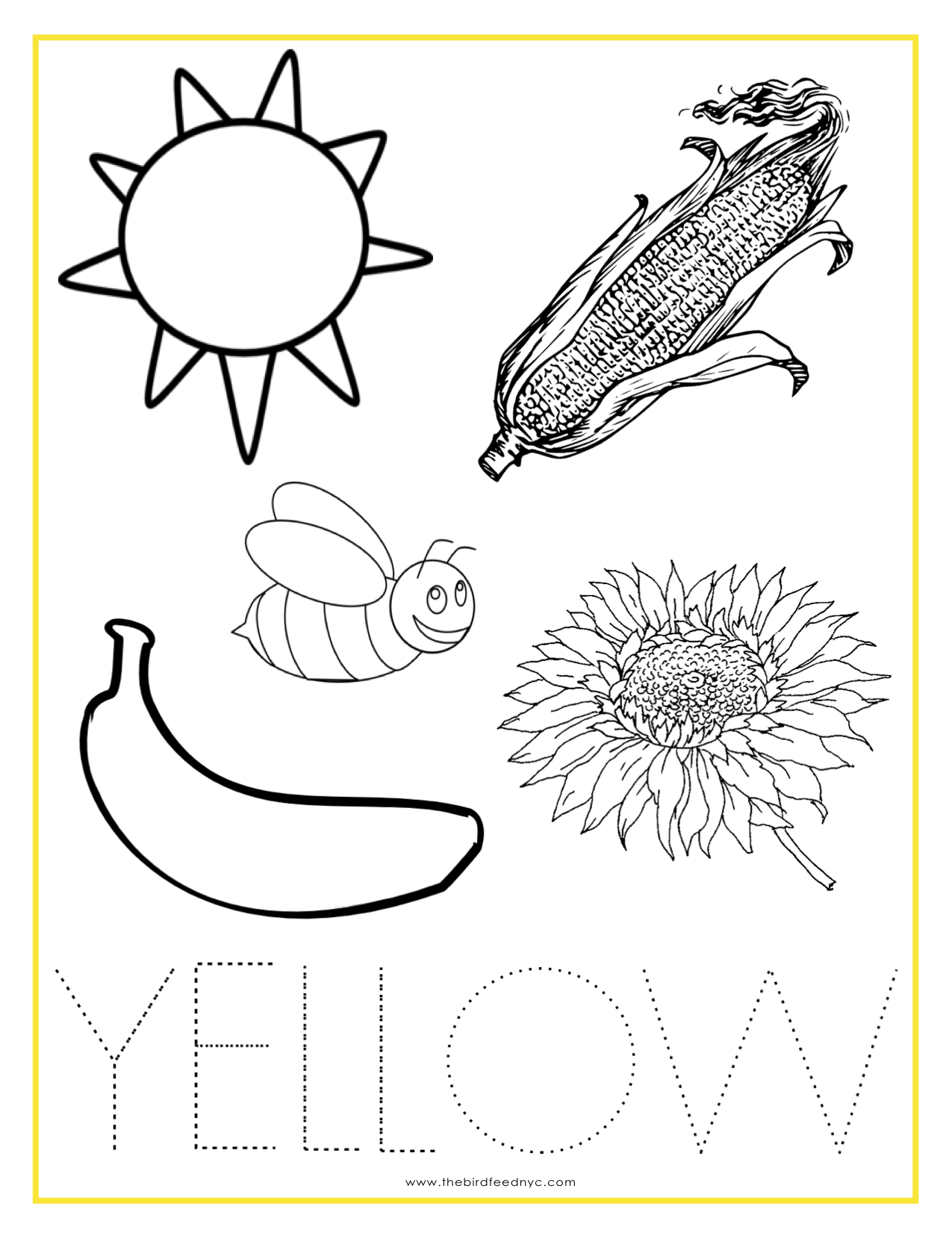 Best Photos Of Yellow Coloring Page Printable - Color Yellow