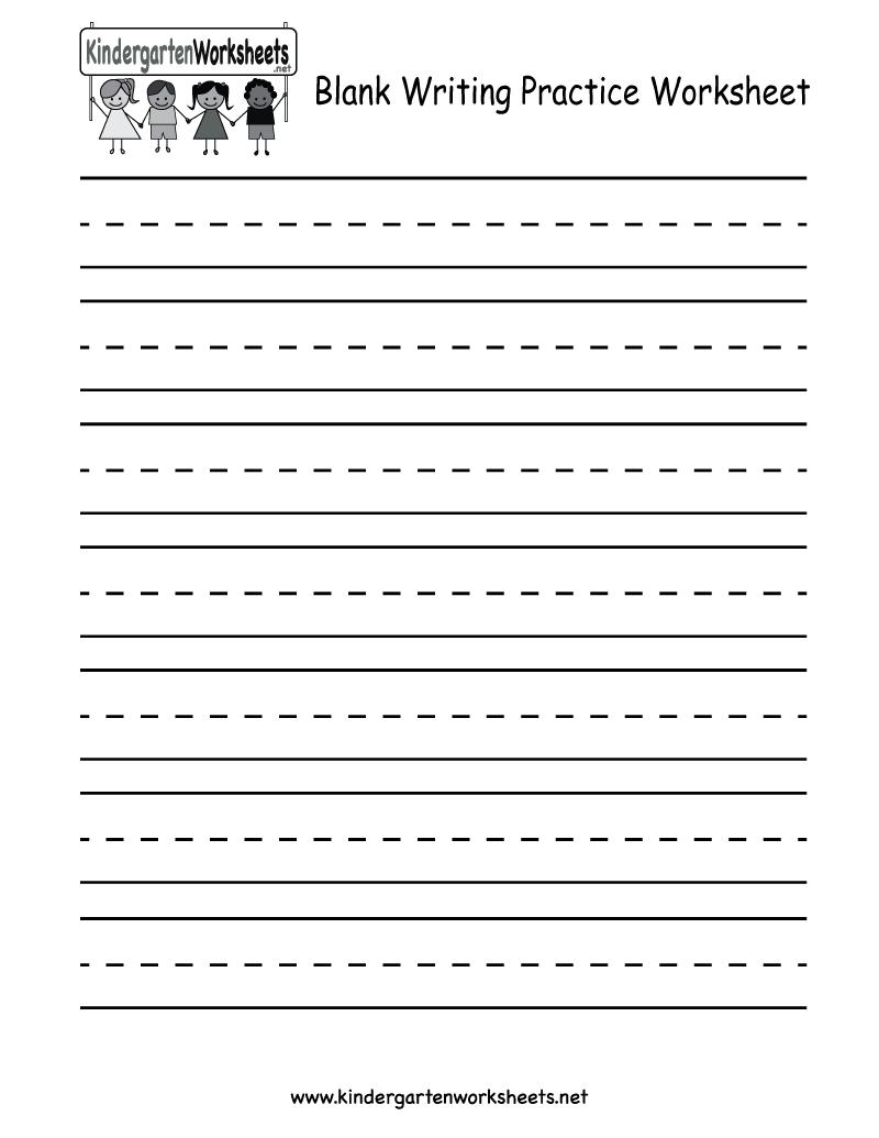 Blank Writing Practice Worksheet - Free Kindergarten English