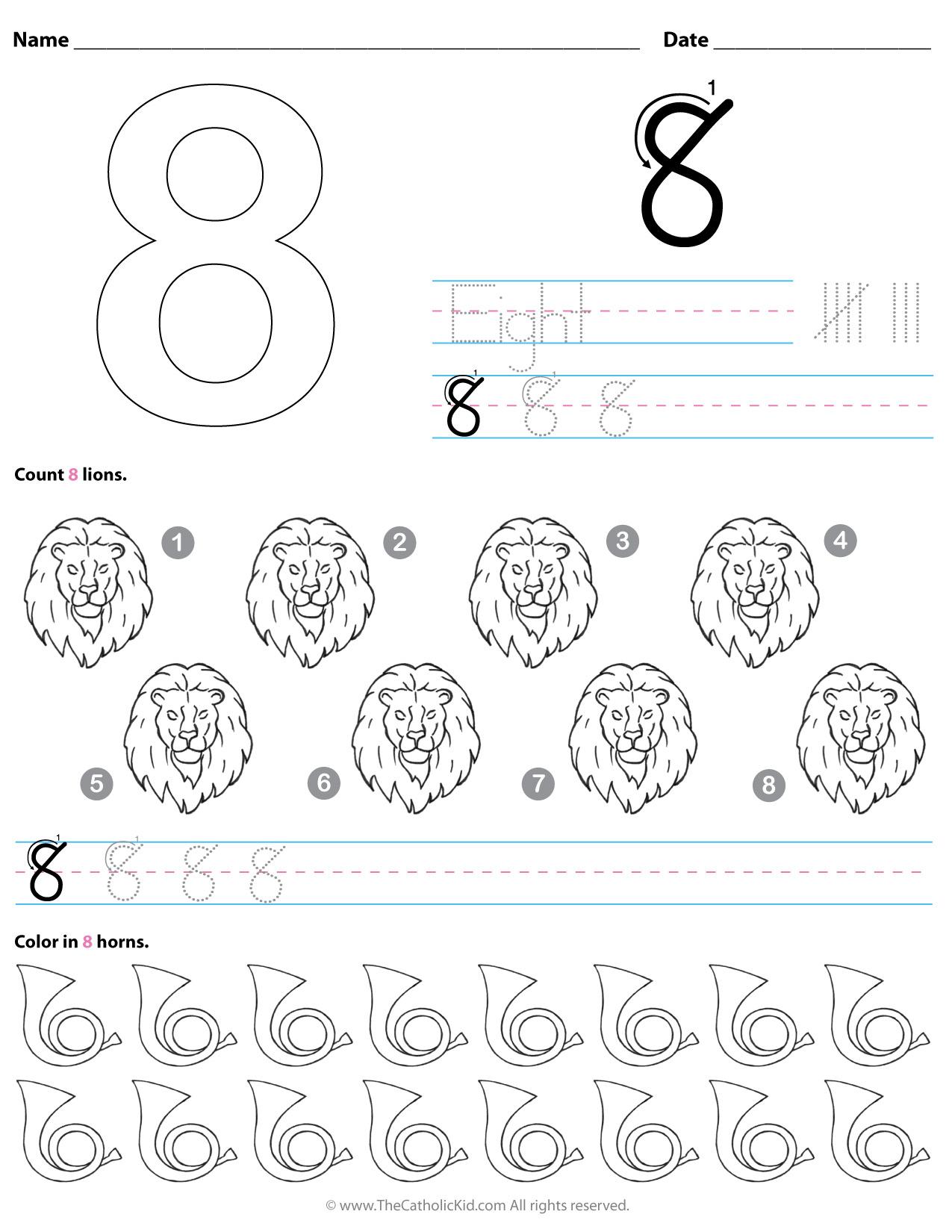 Catholic Number 8 Worksheet Preschool Kindergarten Coloring