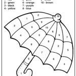 Colornumbers Umbrella | Kindergarten Coloring Pages