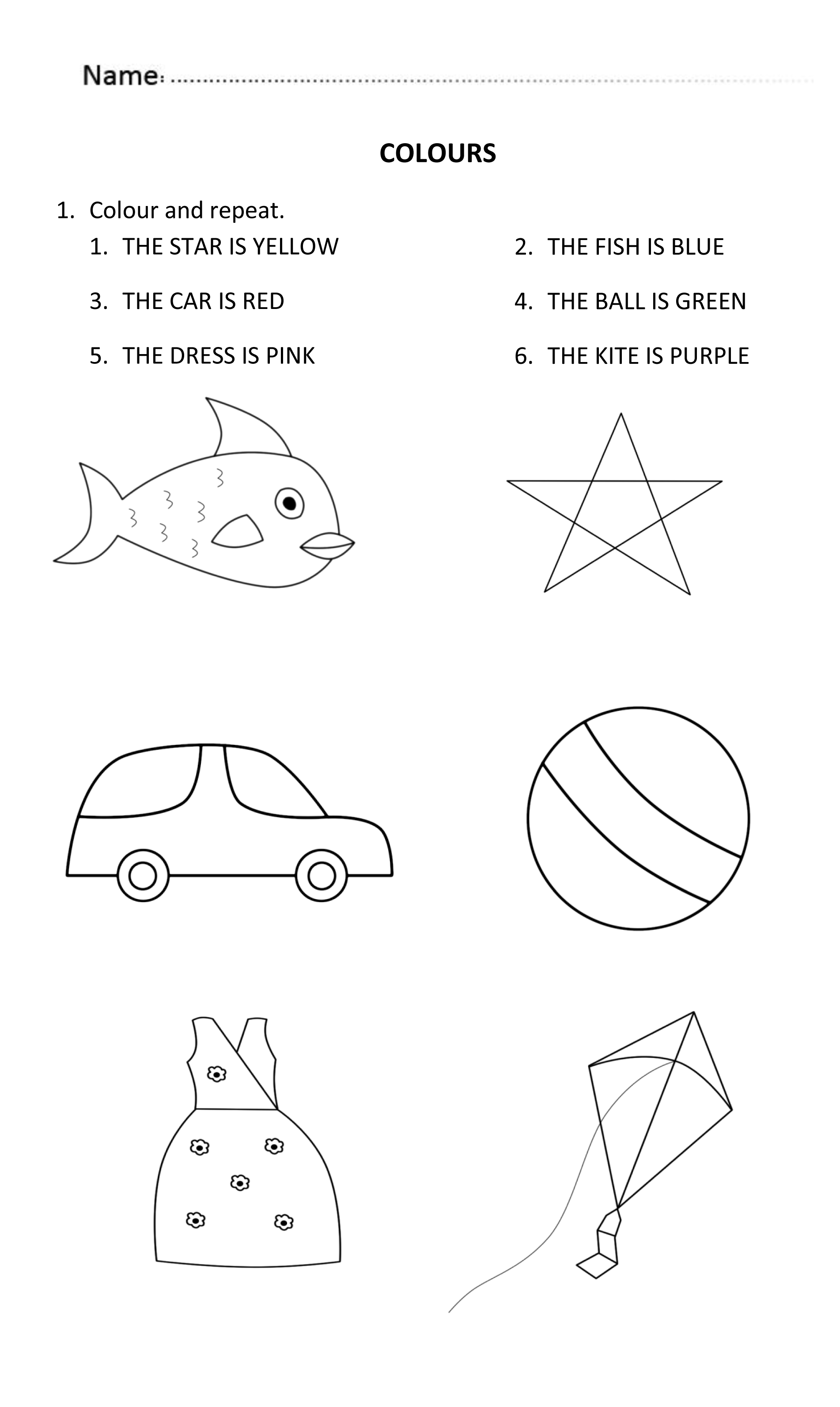 Colours Worksheet For 5 And 6 Years Old. #learningcolours