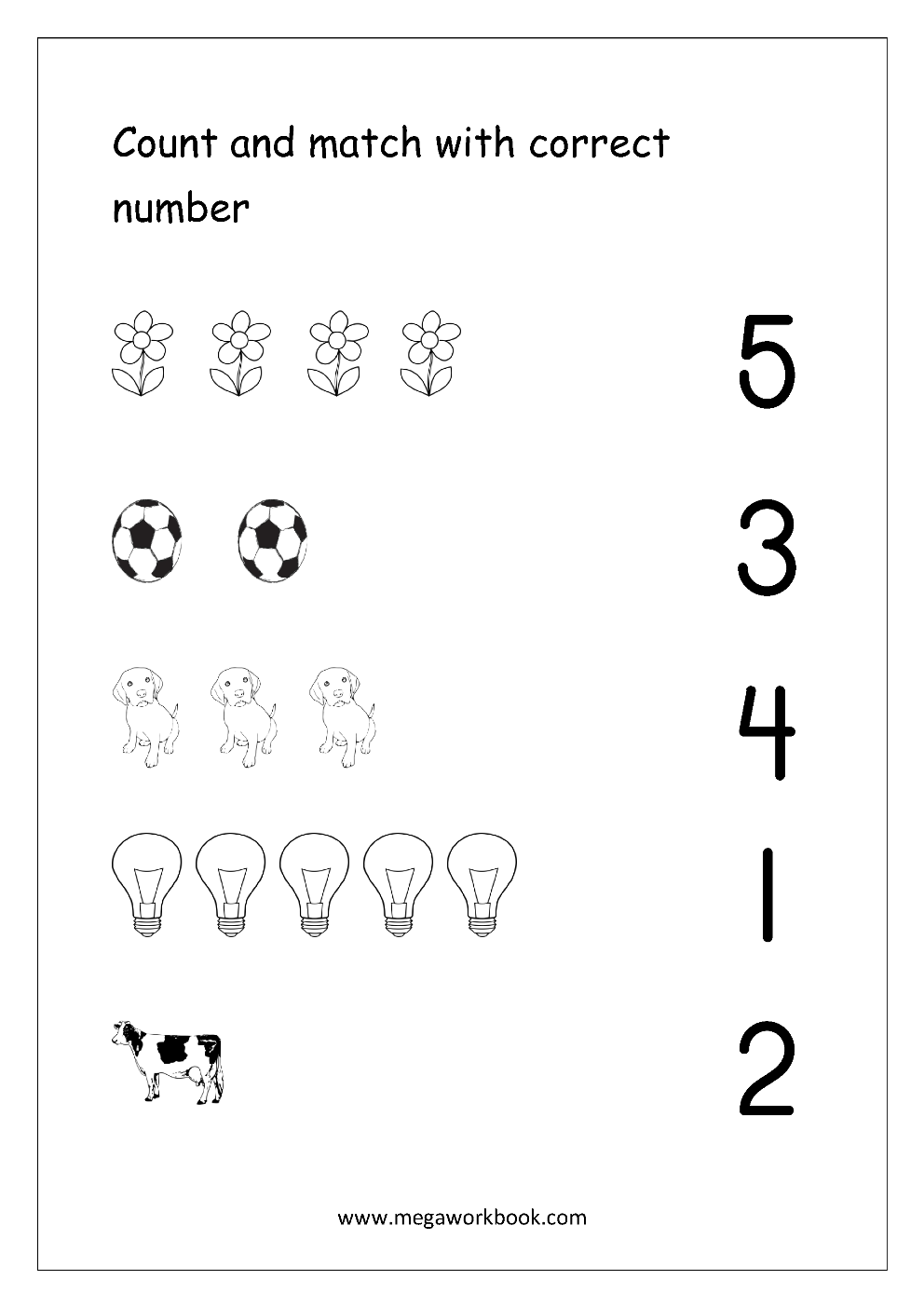 Count_And_Match_1 Coloring Book Math Worksheets Preschool