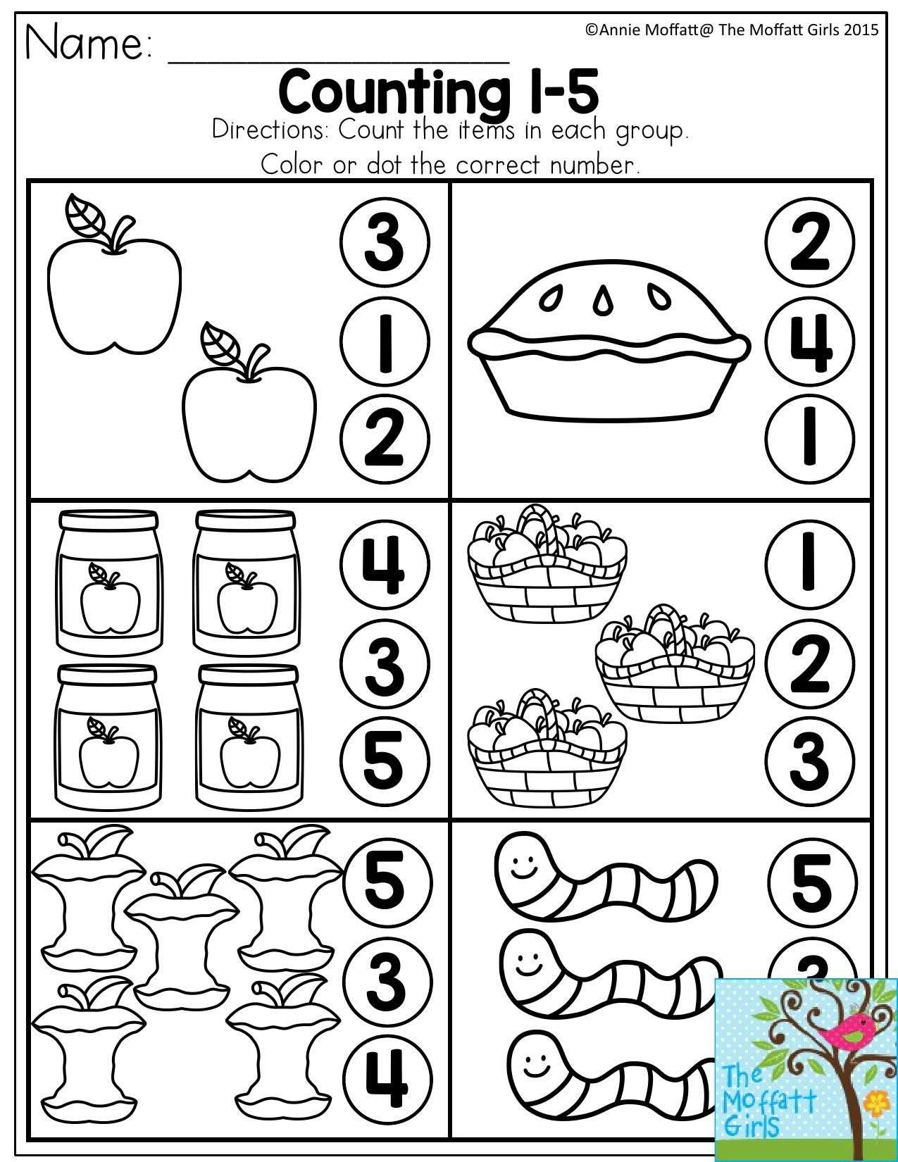 Counting 1-5. Count The Items In Each Group And Dot Or Color