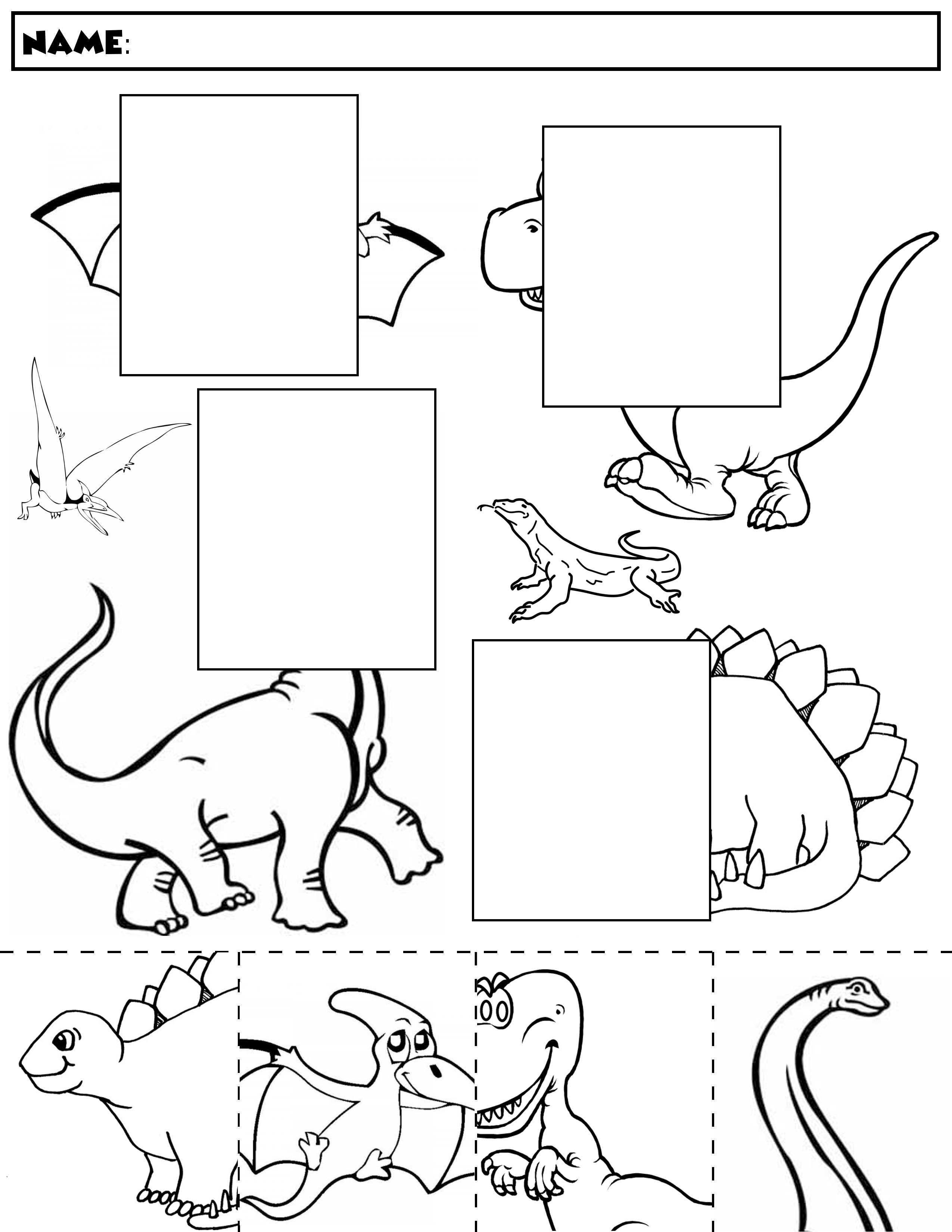 Dinosaur Color And Match   Group 1   Dinosaur Worksheets