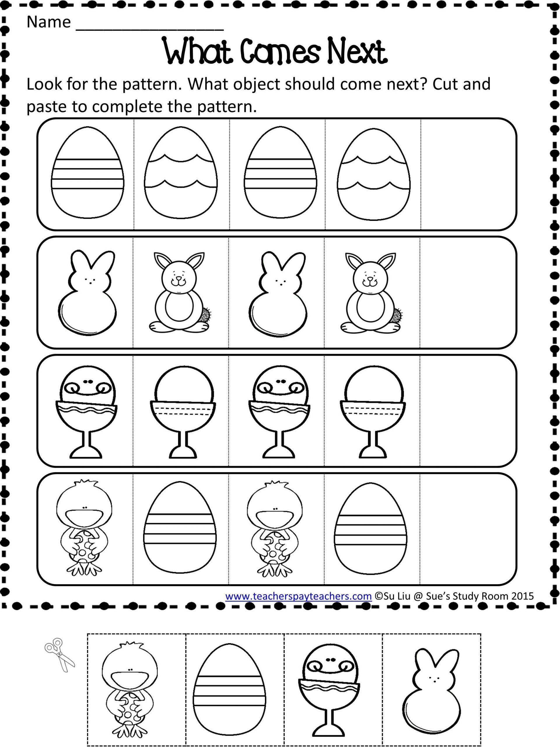 Easter Patterns Worksheets Activitiesor Preschoolree