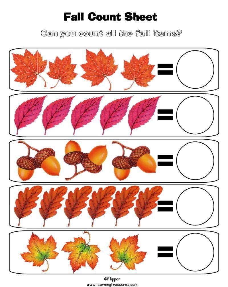 Fall Math Worksheet For Kids | Fall Worksheets, Preschool