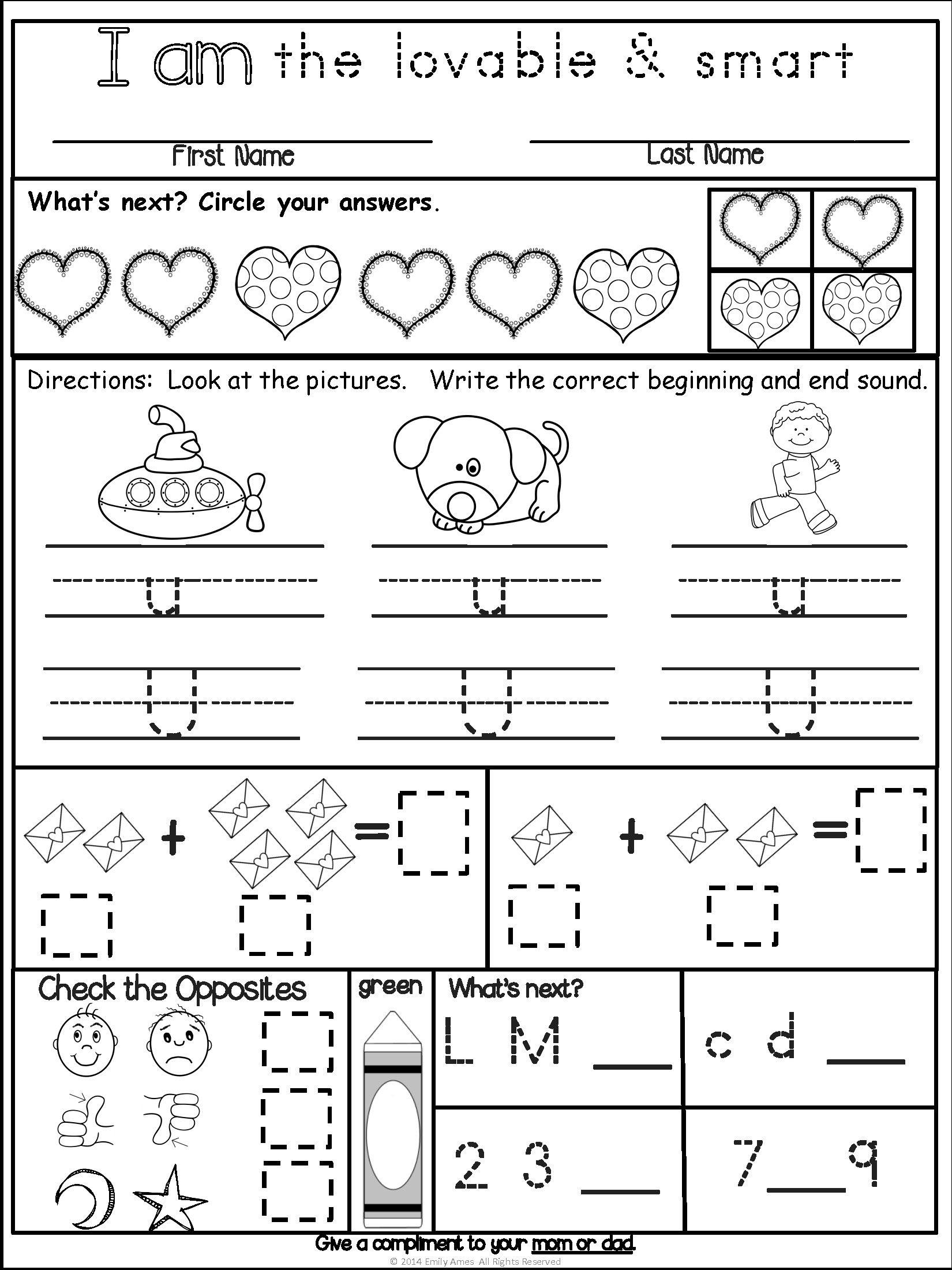 February Core Differentiated Homework For Kindergarten
