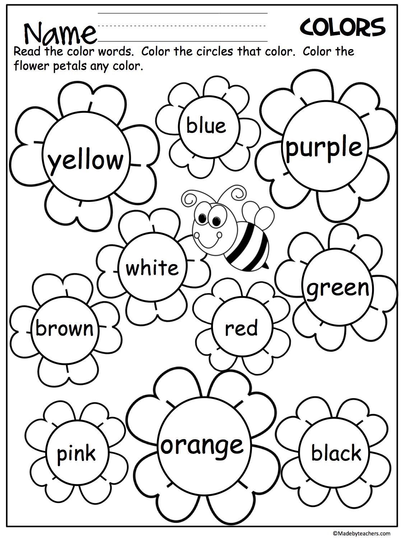 Flower Color Words Worksheet - Madebyteachers | Teaching
