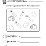 Free Counting Vegetables Worksheet For Preschool | Preschool