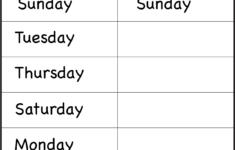 Preschool Worksheets Days Of The Week