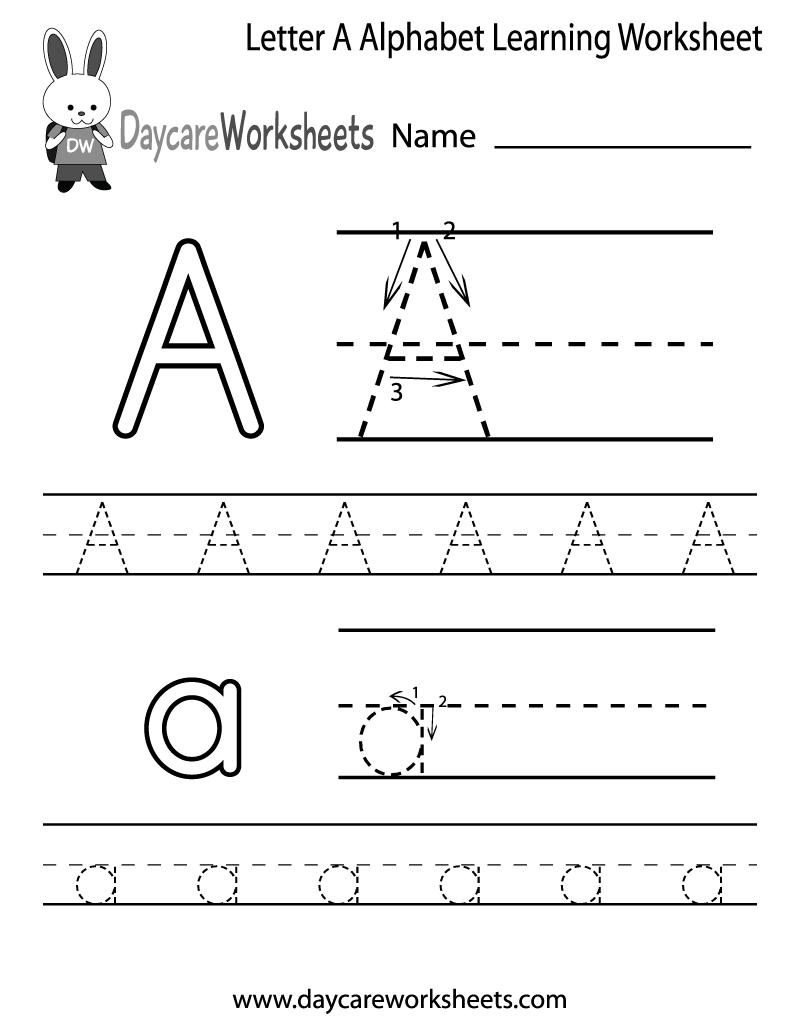 Free Letter A Alphabet Learning Worksheet For Preschool