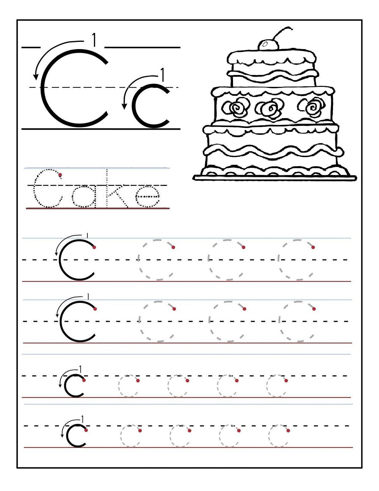 Free Letter C Worksheets Pictures - Misc Free Preschool