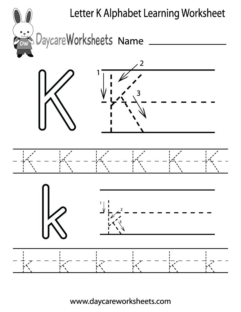 Free Letter K Alphabet Learning Worksheet For Preschool