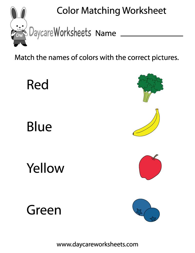 Free Preschool Color Matching Worksheet   Free Preschool