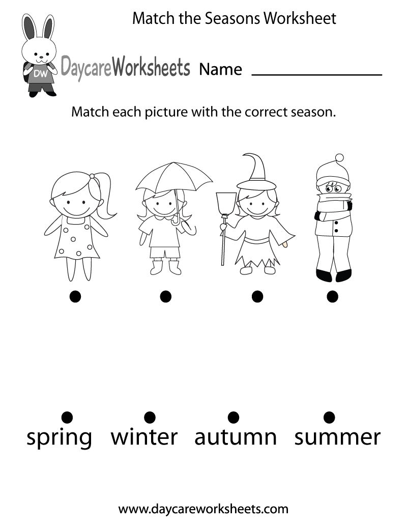 Free Preschool Match The Seasons Worksheet | Seasons