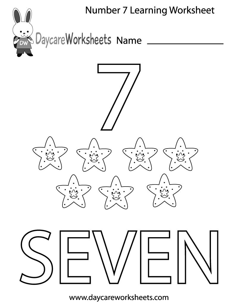 Free Preschool Number Seven Learning Worksheet