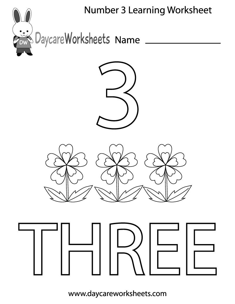 Free Preschool Number Three Learning Worksheet | Learning