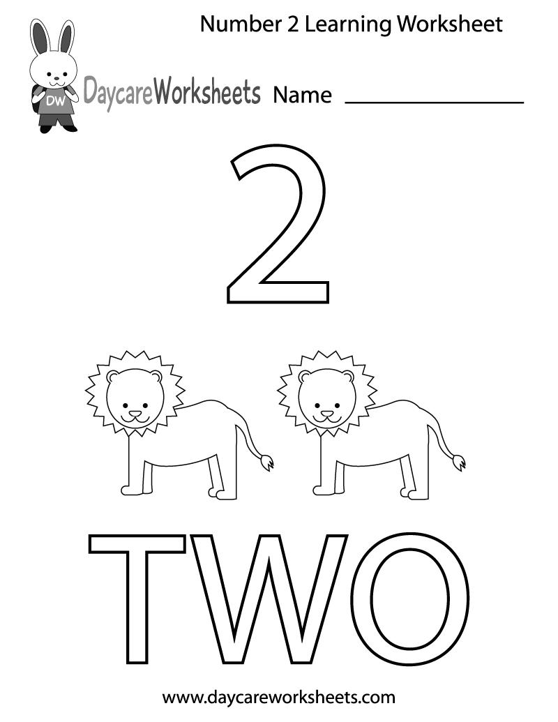 Free Preschool Number Two Learning Worksheet   Preschool