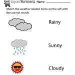 Free Preschool Weather Words Worksheet | Weather Words