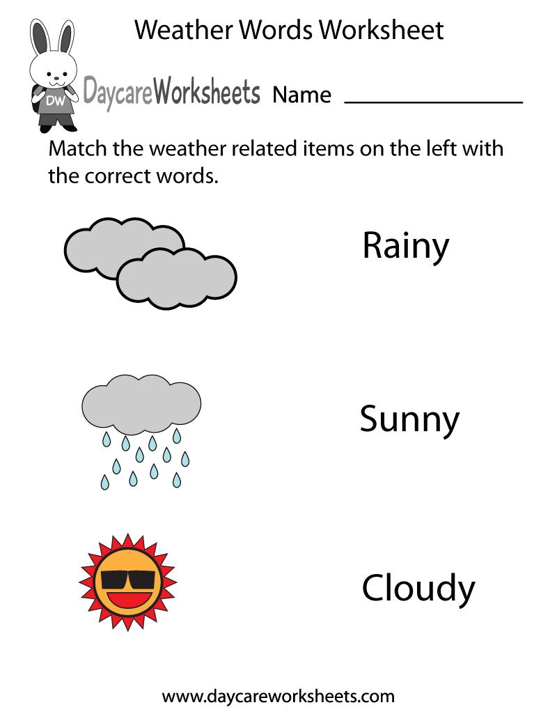 Free Preschool Weather Words Worksheet   Weather Words