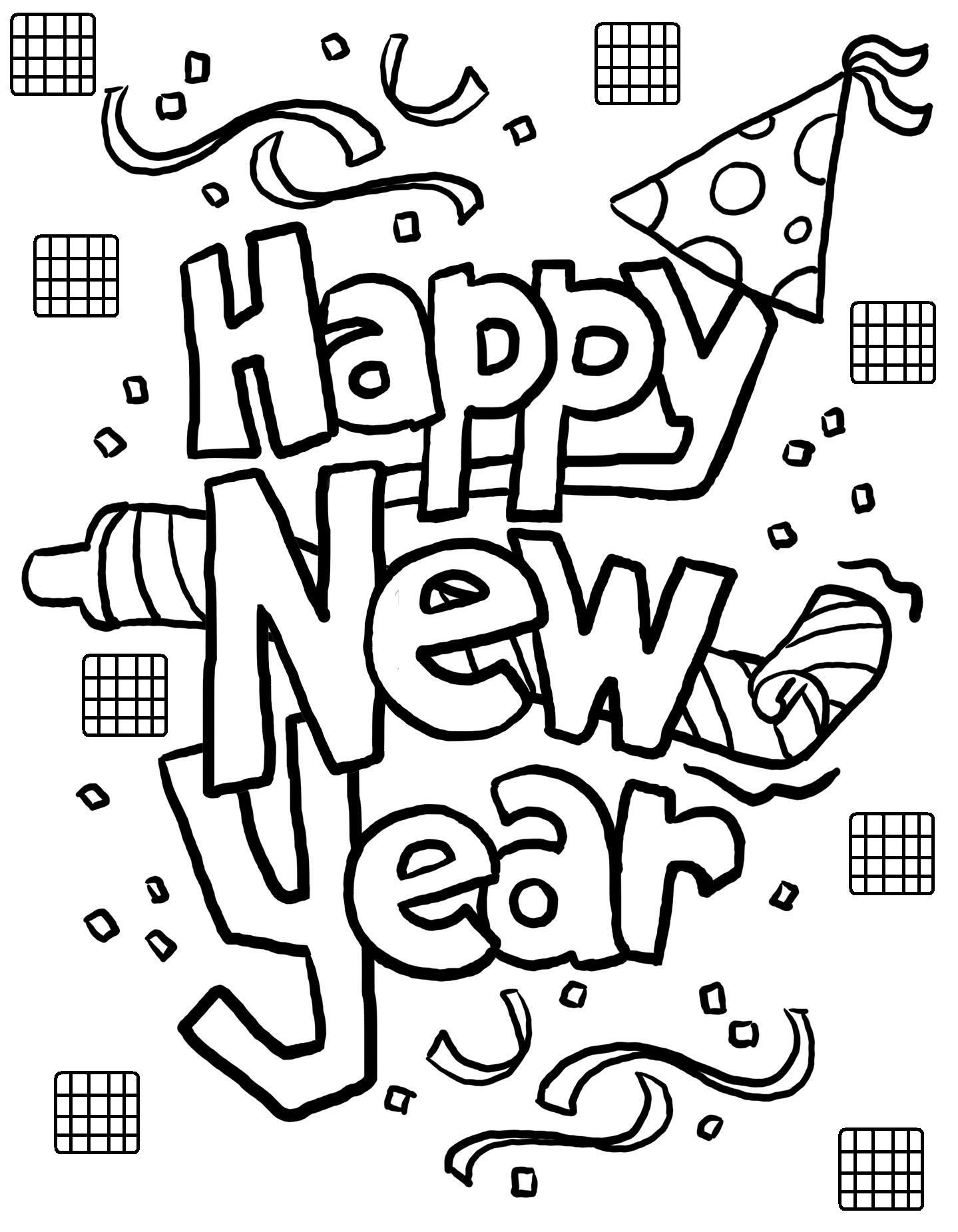Free Printable New Years Coloring Pages For Kids | New Year
