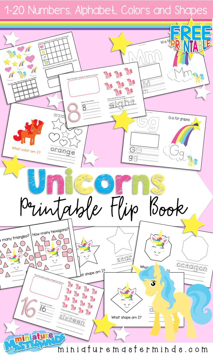 Free Printable Unicorn Themed Flip Book 1-20 Numbers, Colors