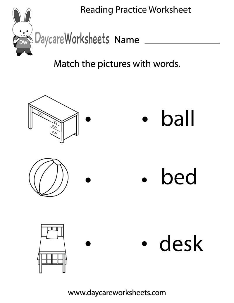 Free Reading Practice Worksheet For Preschool   Reading
