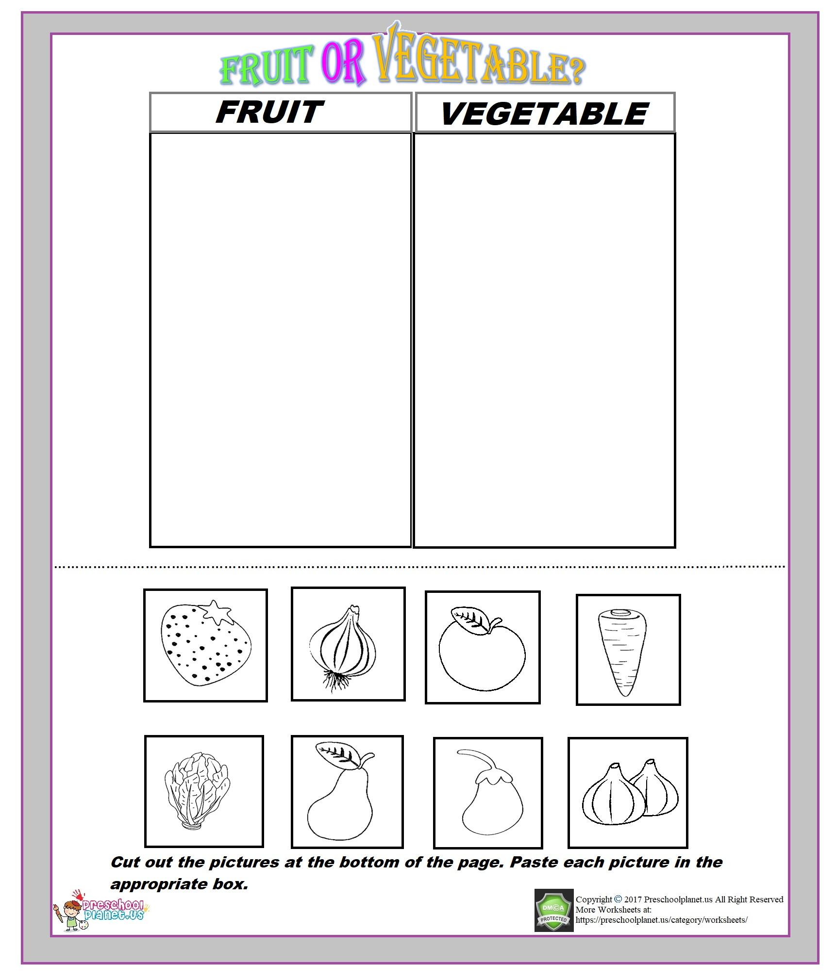 Fruit Or Vegetable Worksheet – Preschoolplanet