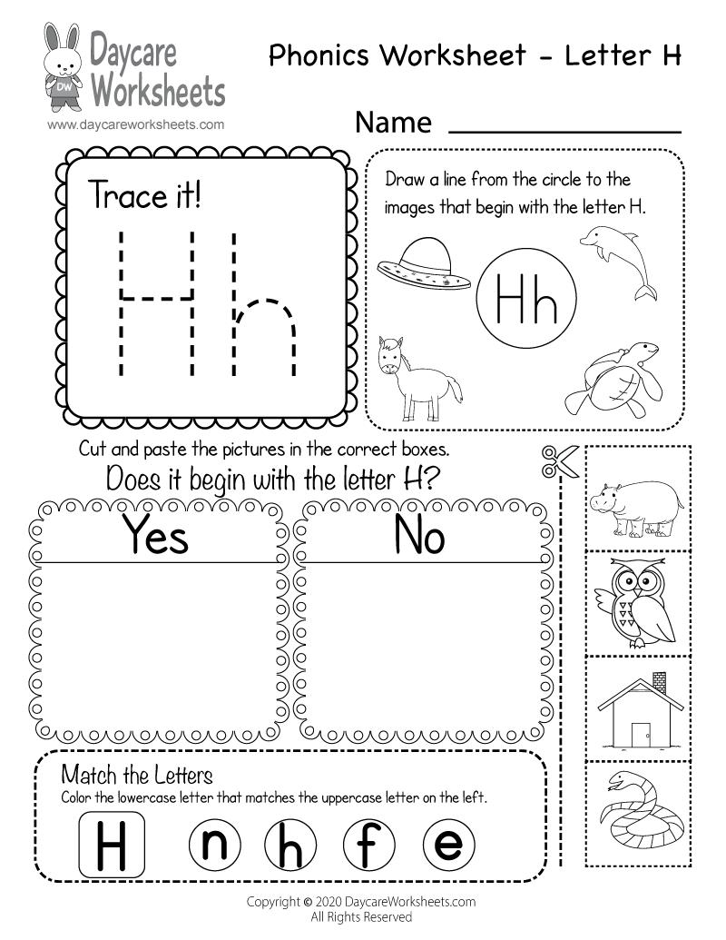 H Worksheets For Preschool Free Letter Phonics Worksheet