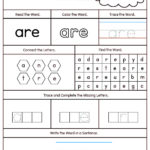 High Frequency Word Are Printable Worksheet | Sight Word