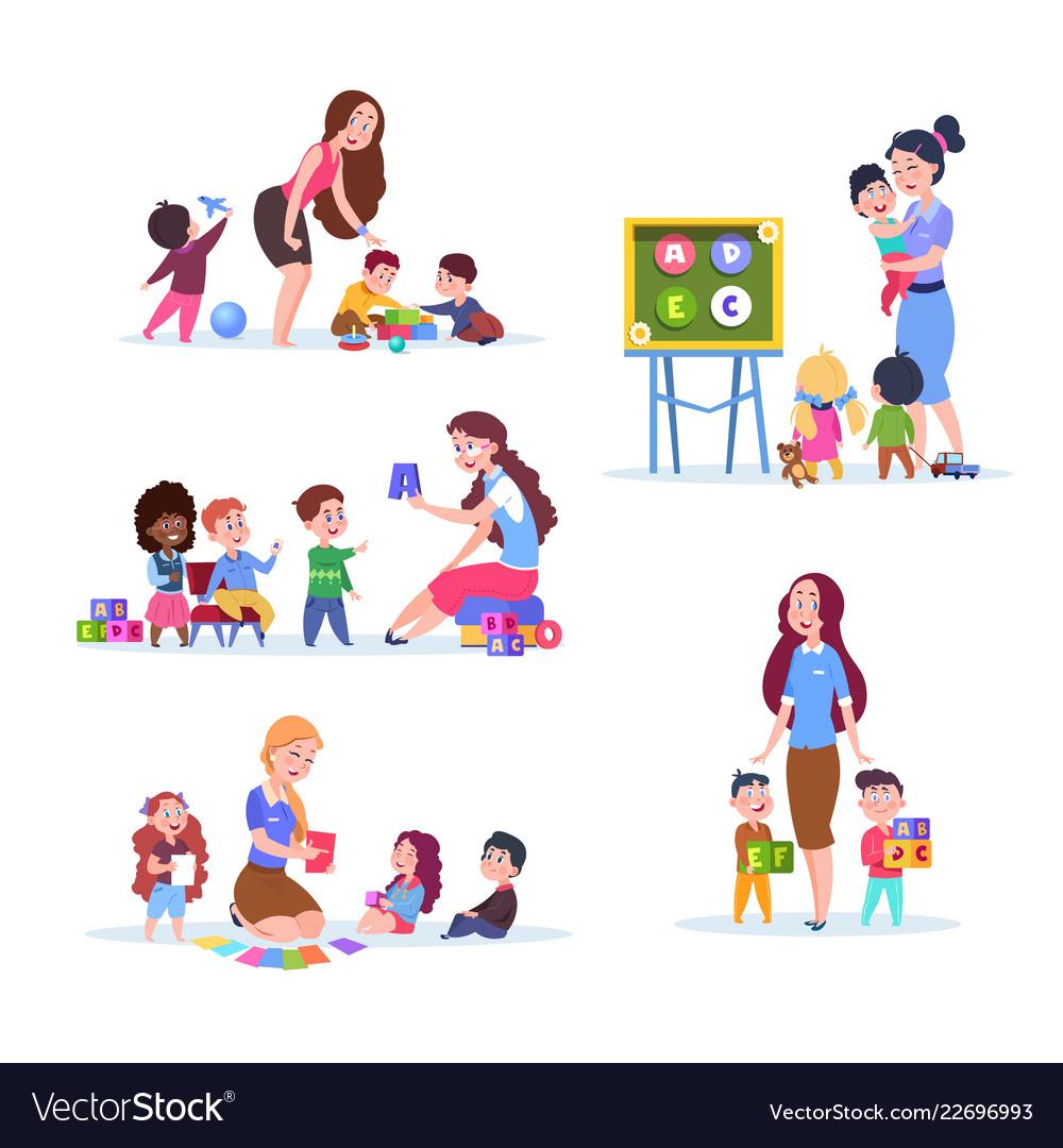 Kids In Kindergarten Fun Children Learning And