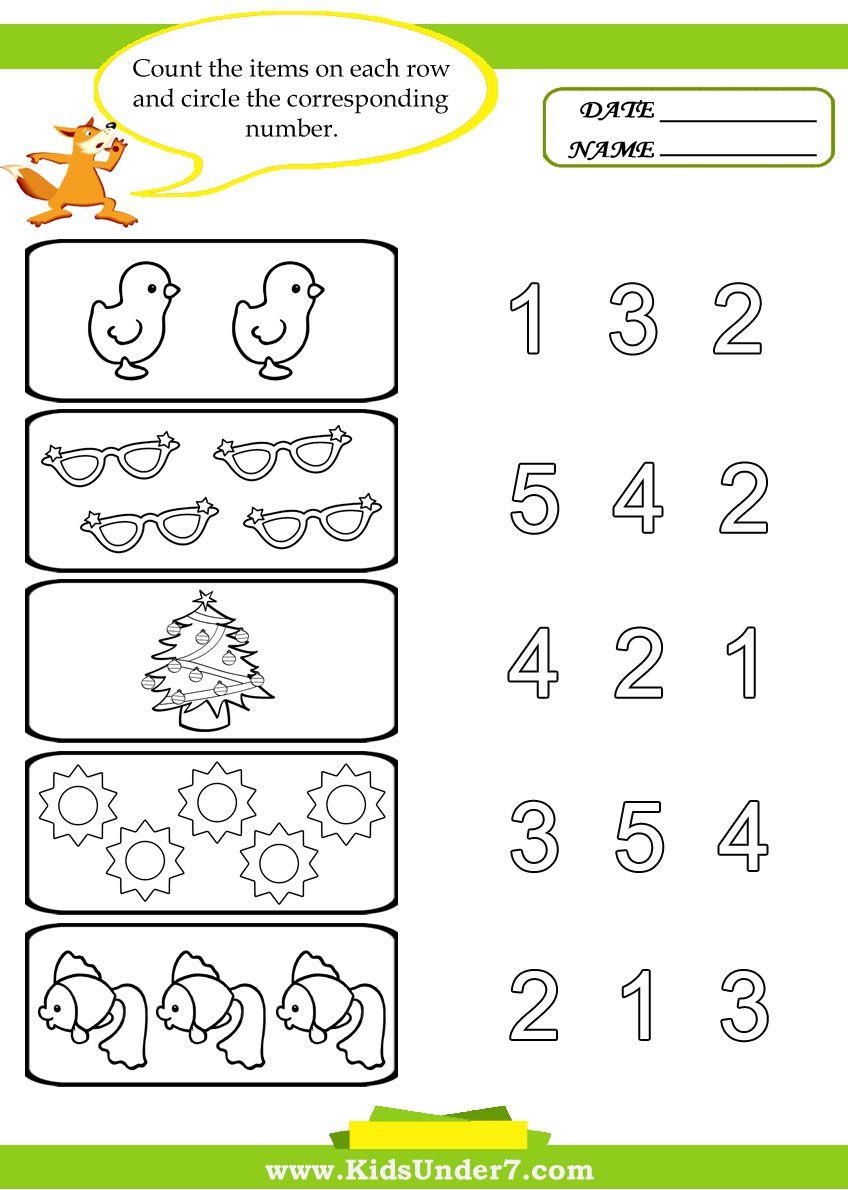 Kids Under 7: Preschool Counting Printables   Preschool