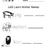 Kindergarten Free Spelling And Vocabulary Worksheet