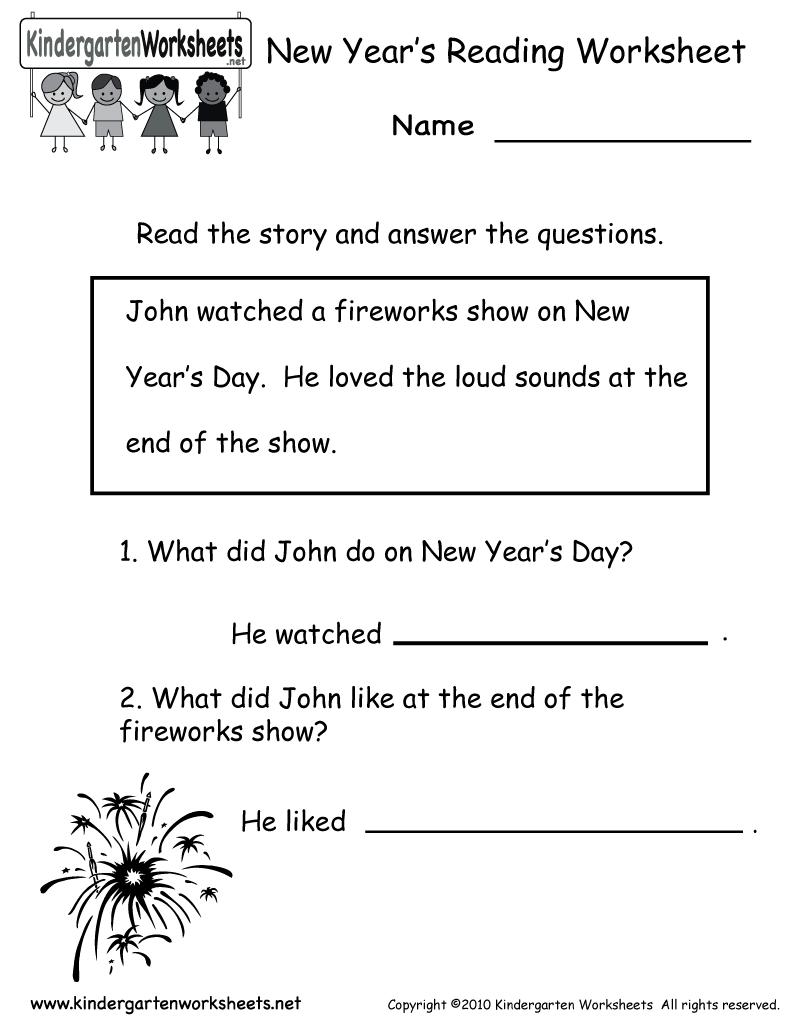 Kindergarten New Year's Reading Worksheet Printable