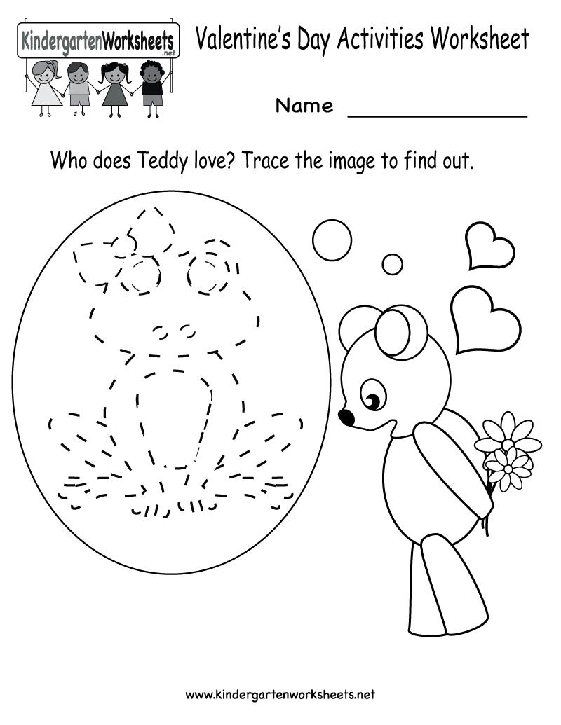 Kindergarten Valentine's Day Activities Worksheet Printable