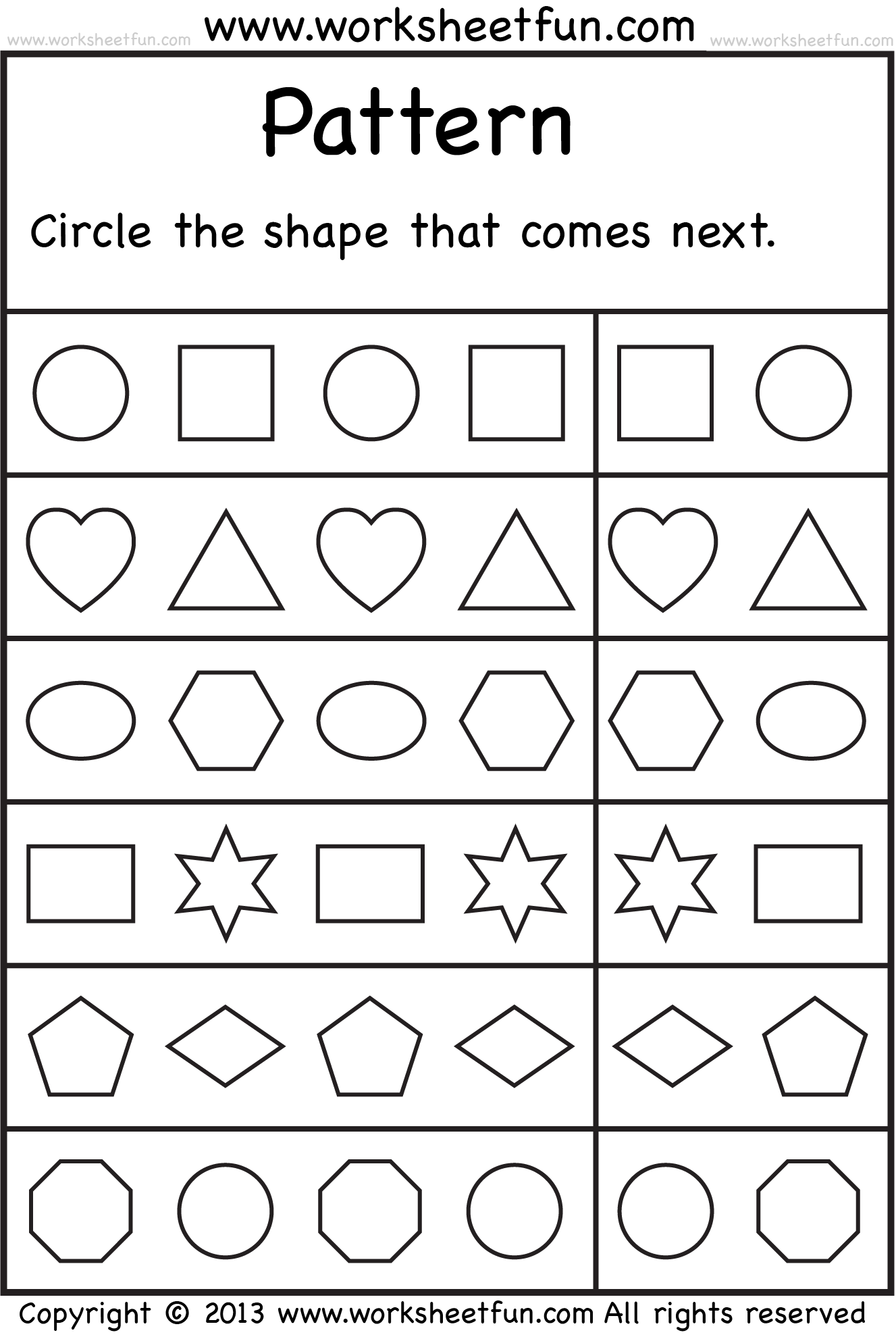 Kindergarten Worksheet   Pattern Worksheet, Patterning