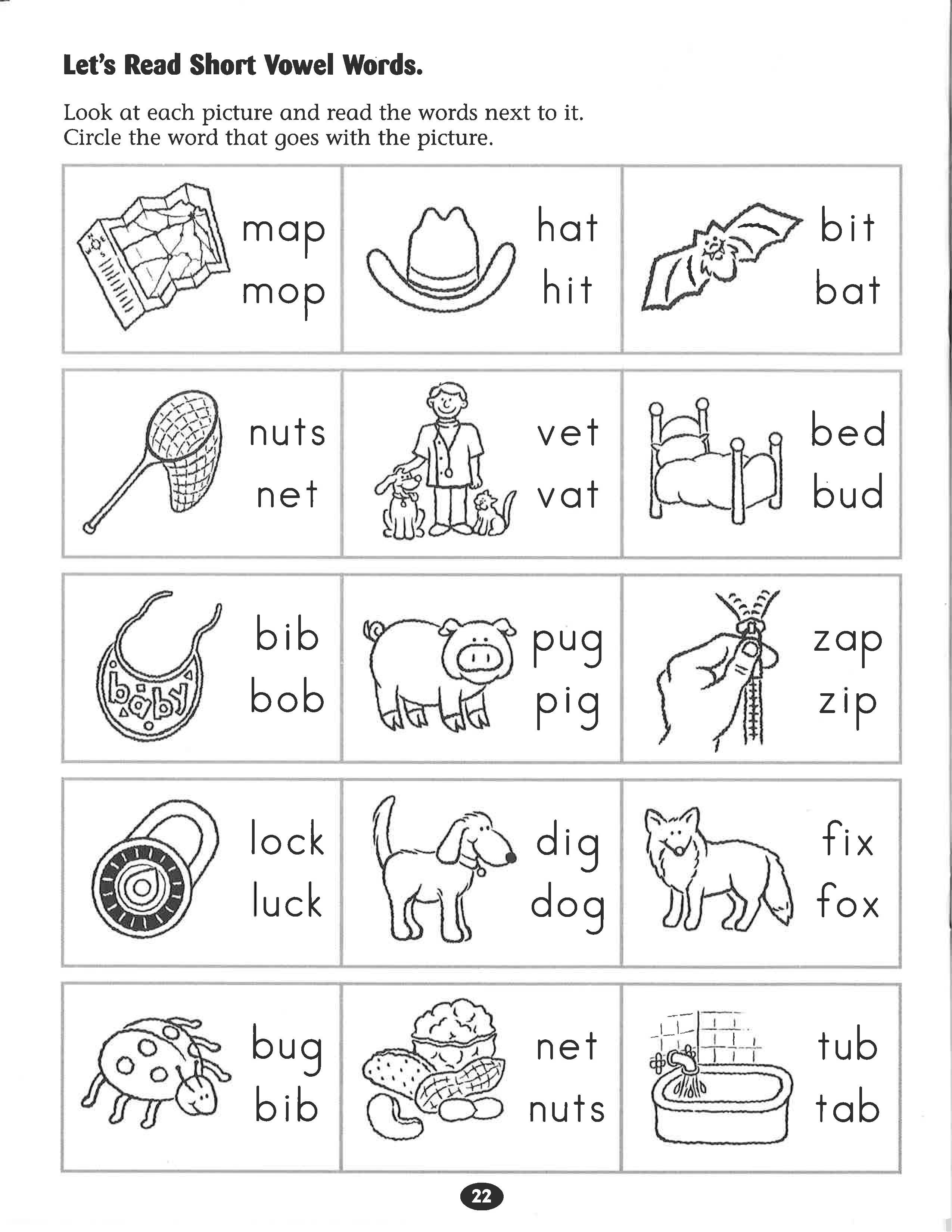 Let's Read Short Vowel Words #worksheet.   Phonics
