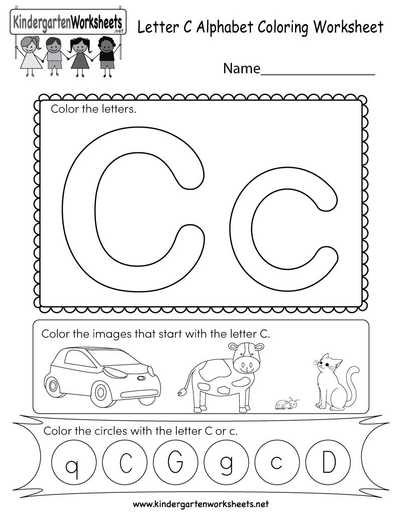 Letter C Coloring Worksheet - Free Kindergarten English