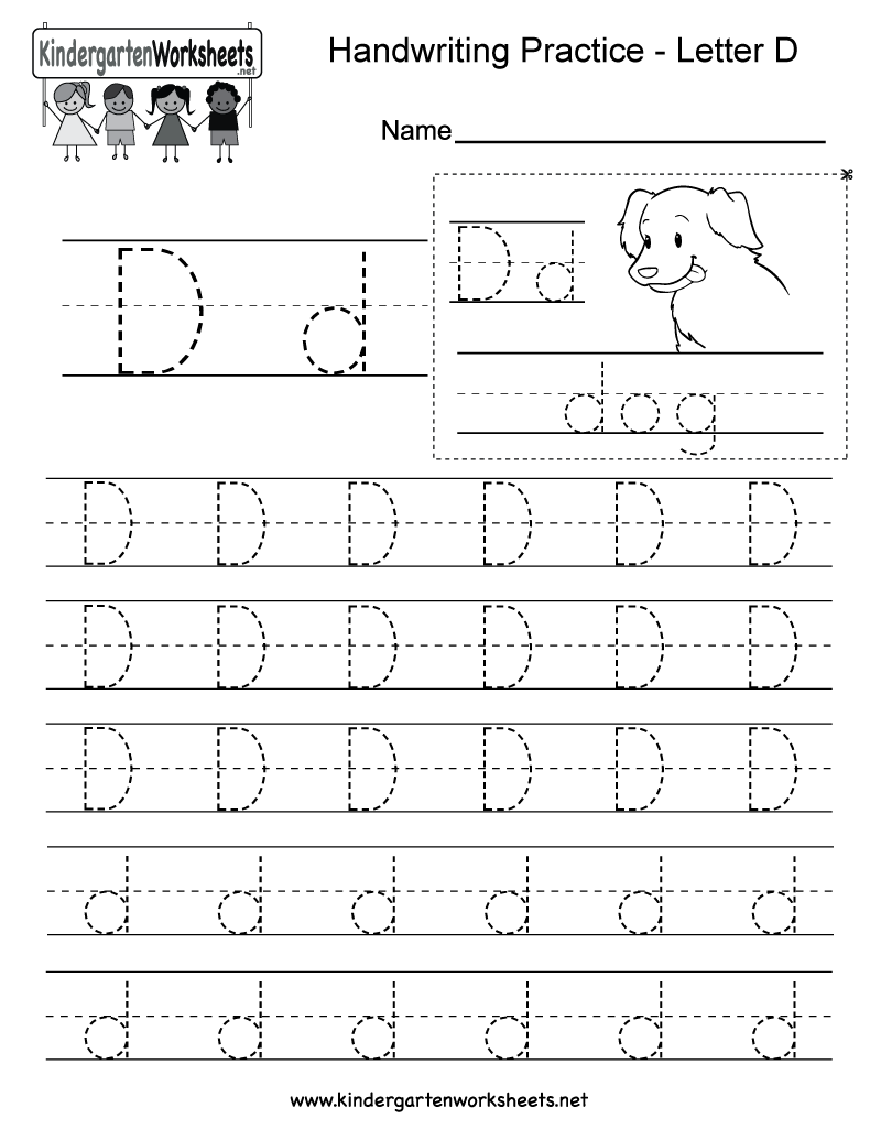 Letter D Writing Practice Worksheet. This Series Of