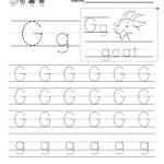 Letter G Writing Practice Worksheet   Free Kindergarten