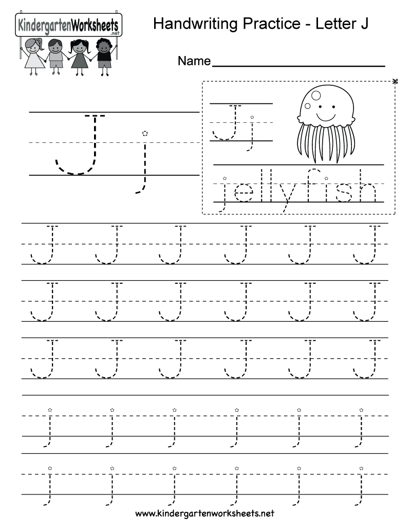 Letter J Writing Practice Worksheet. This Series Of