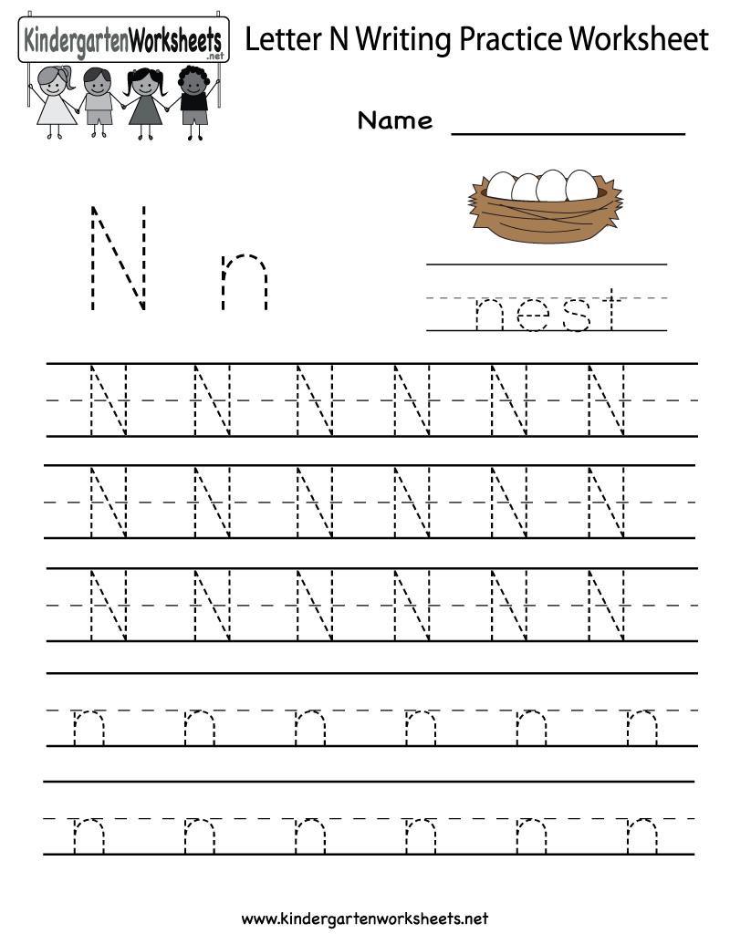 Letter N Writing Practice Worksheet - Free Kindergarten