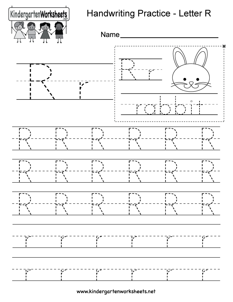 Letter R Writing Practice Worksheet - Free Kindergarten